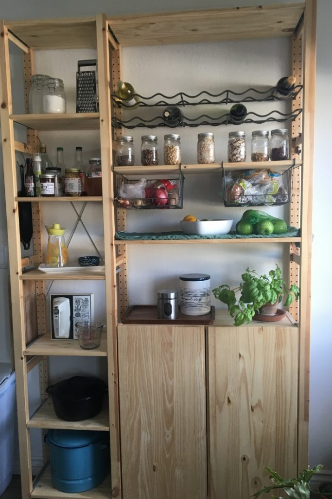 extra kitchen storage with open pantry