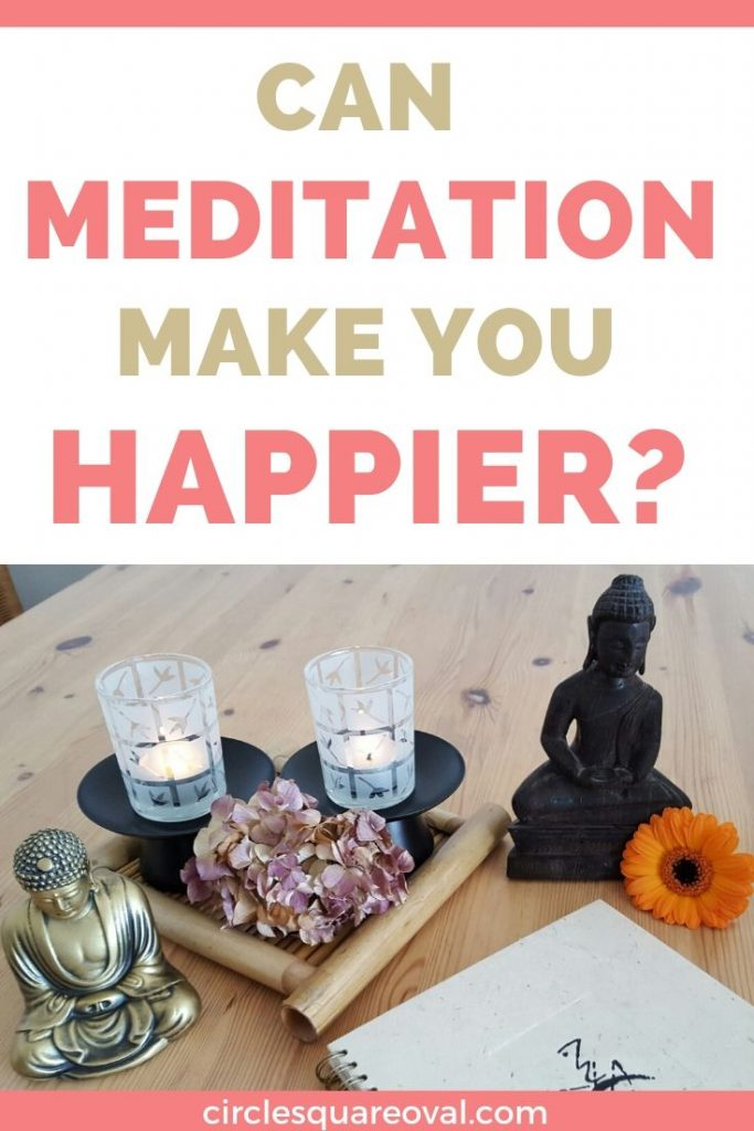 Can meditation make you happier? A collection of meditation boosters, including Buddha statues, flowers, and candles