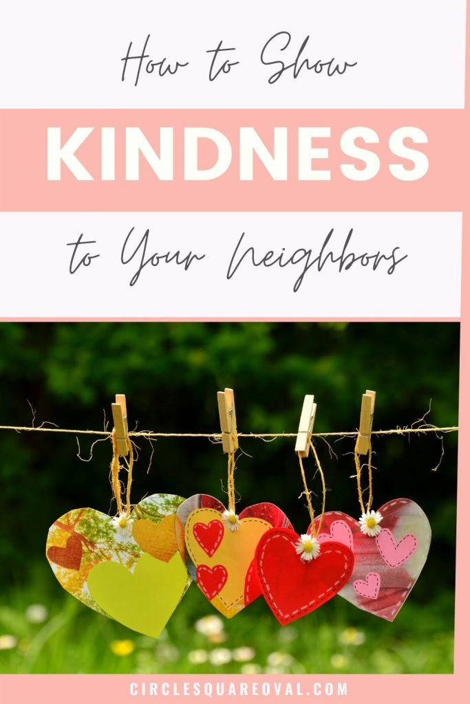 fabric hearts hung on twine with clothespins show kindness to neighbors