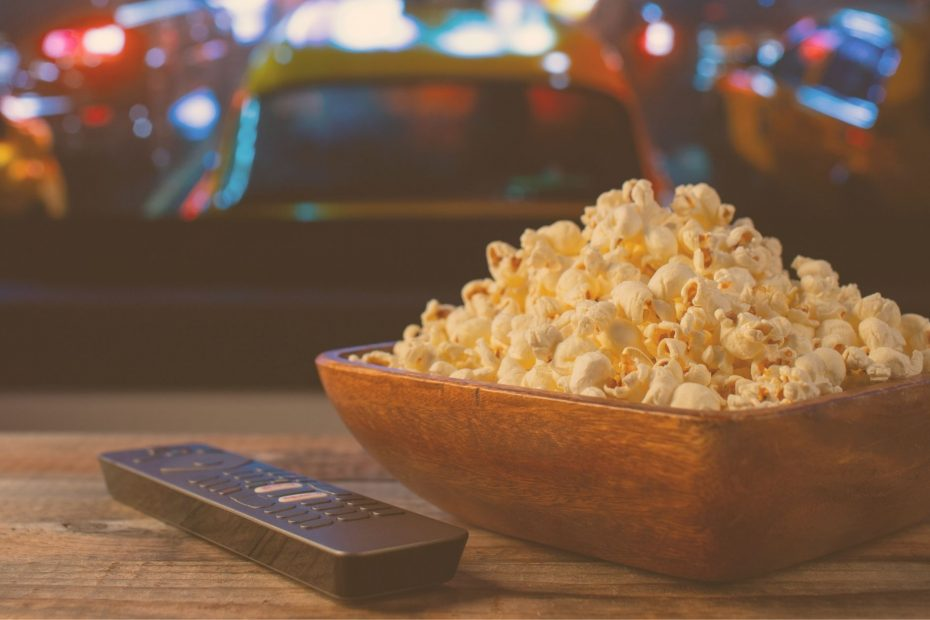 popcorn bowl and tv remote