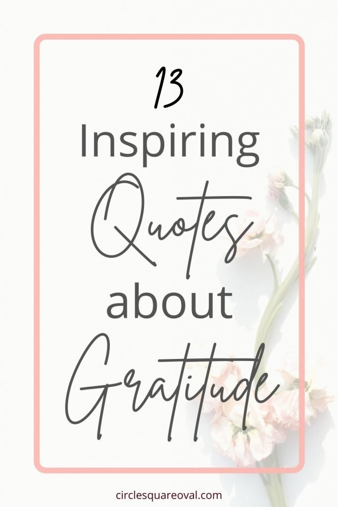 white background with dried white statice sprig behind words that say 13 inspiring quotes about gratitude