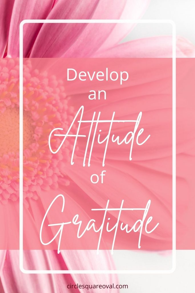 pink daisy in background with words Develop an Attitude of Gratitude