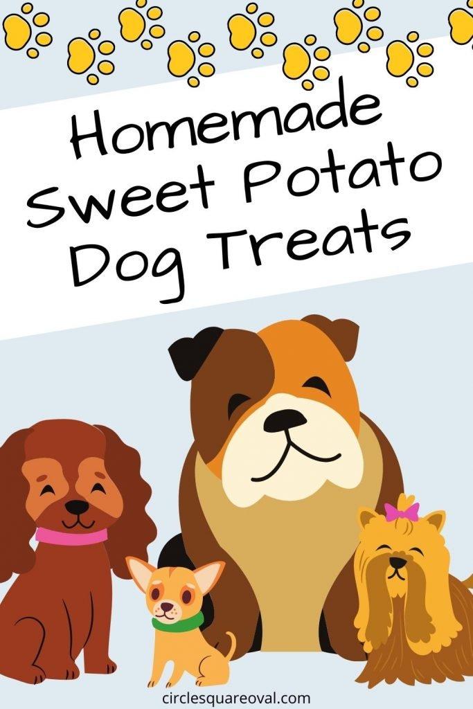 "paw prints and cartoon dogs with words ""Homemade Sweet Potato Dog Treats"