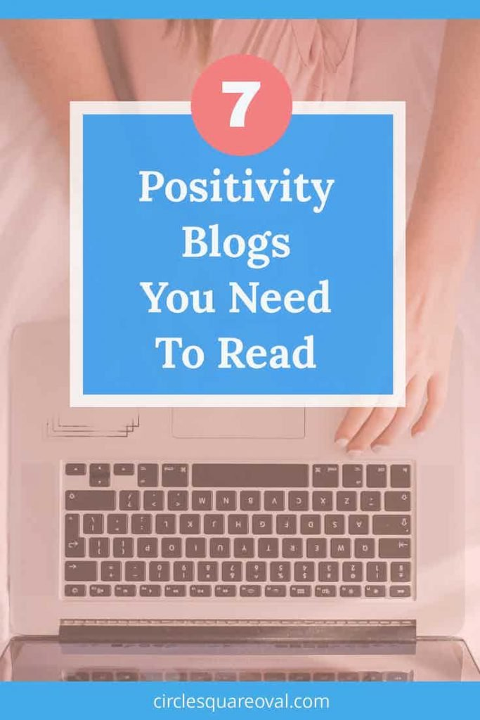 pink background with woman reading computer on bed reading positivity blogs