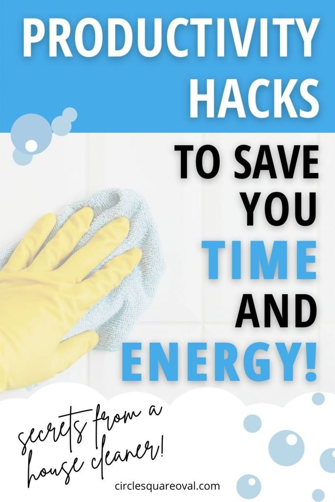 hand in rubber glove scrubbing white bathroom tile:  productivity hacks
