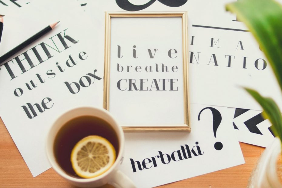 live breathe create in frame with teacup and plant