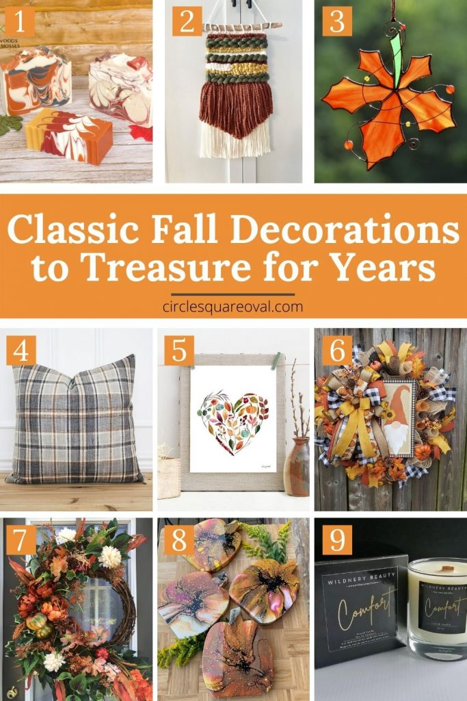 soap, suncatcher, wall art, wreaths, candle, pillow - all beautiful fall decor items