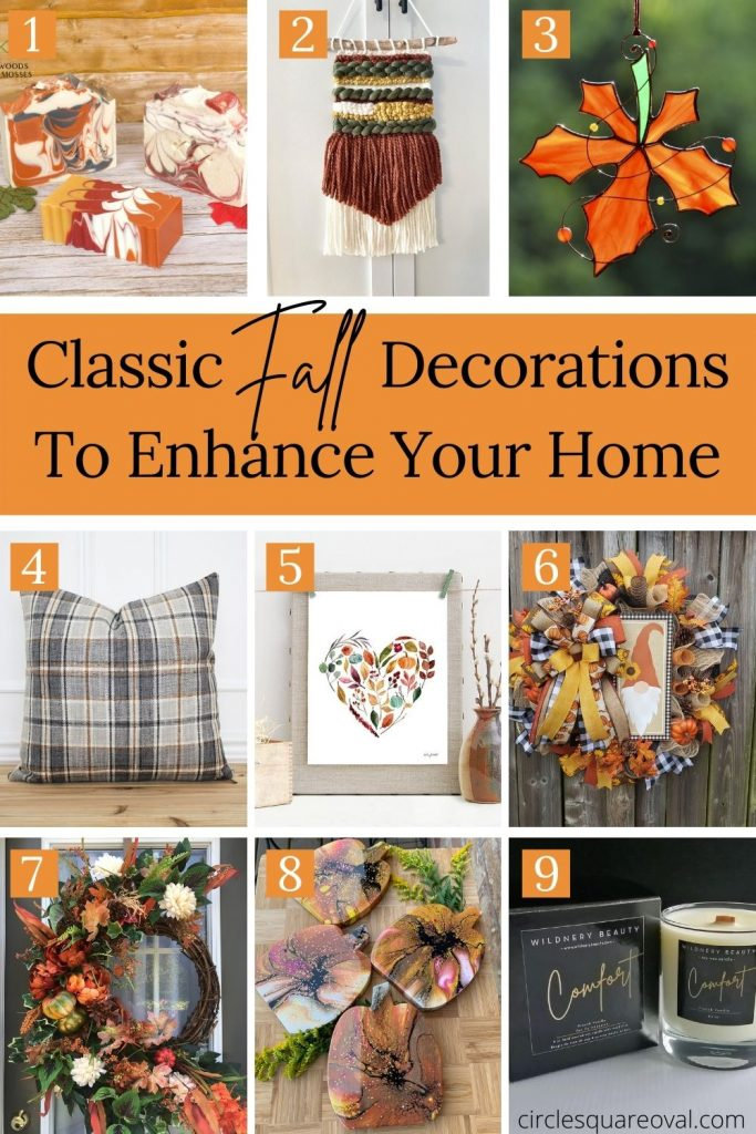 pictures of handcrafted fall decorations including wreaths, candle, pillow, and suncatcher.