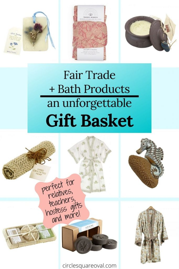 collection of bath products including robes, soaps, loofahs, and lotions