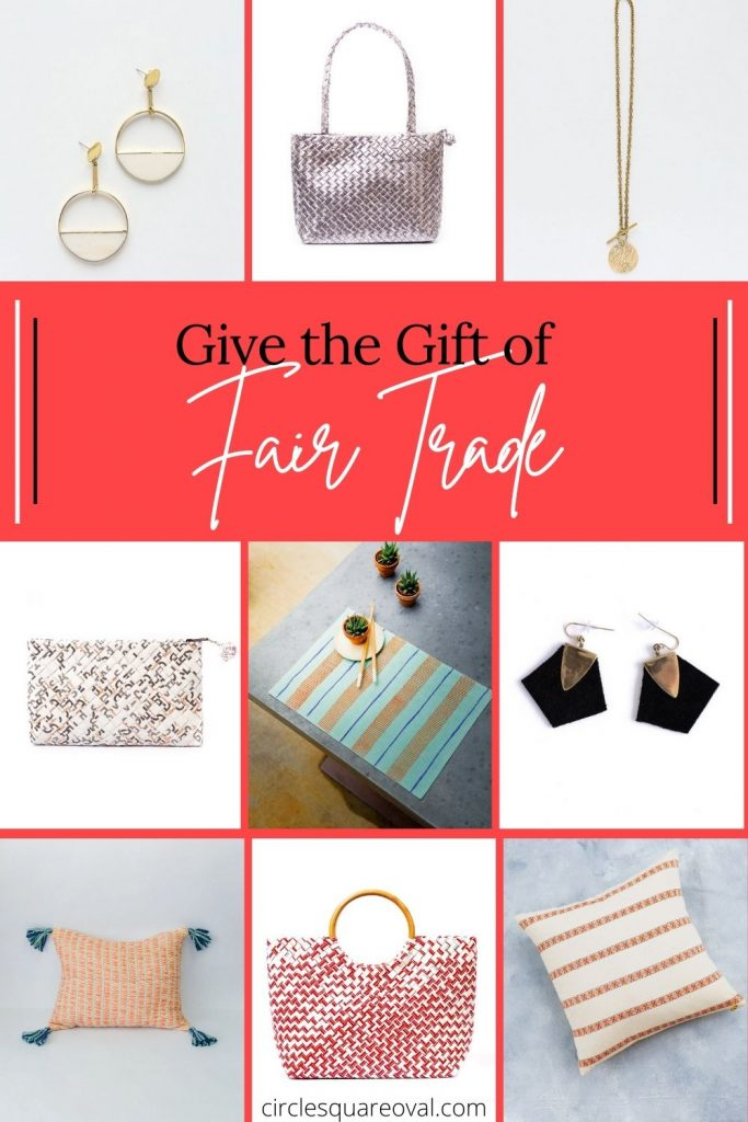 Fair trade products including jewlery, purses, pillows, and table settings.