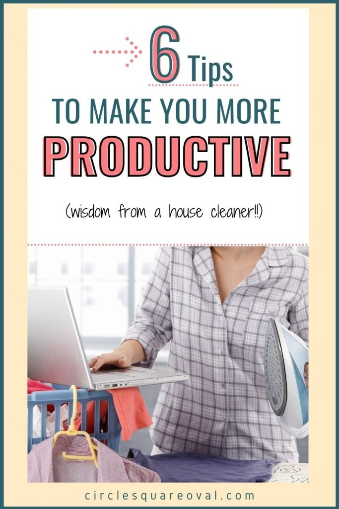 woman multitasking with laundry, iron, and computer, tips to increase productivity