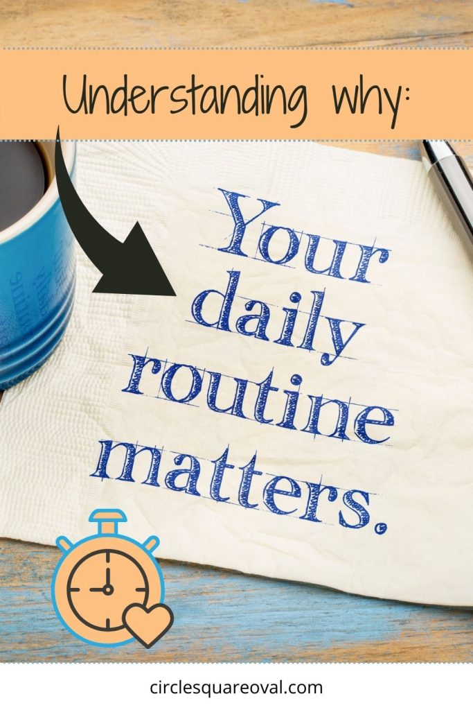 """napkin imprinted with the words """"your daily routine matters"""" next to blue coffee cup"""