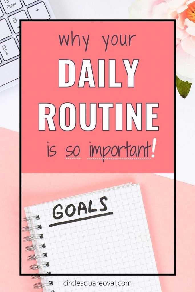 """spiral notebook labelled """"goals"""", the importance of a daily routine"""