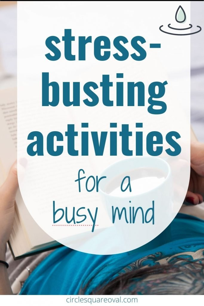 hands holding book and coffee cup, stress-reducing activities