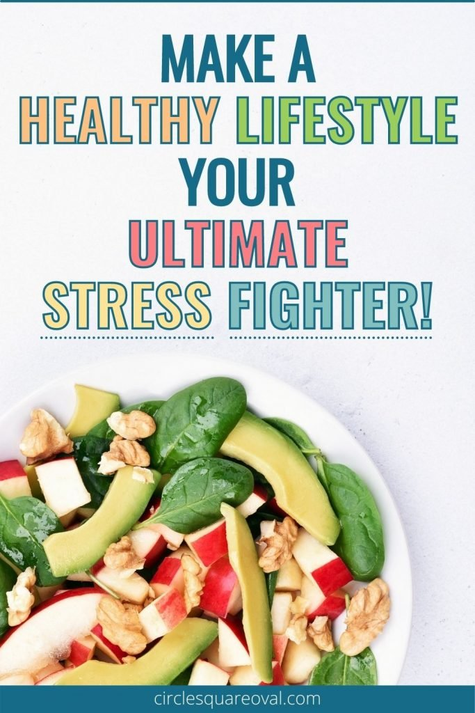 large white bowl of fresh salad ingredients, fight stress with a healthy lifestyle