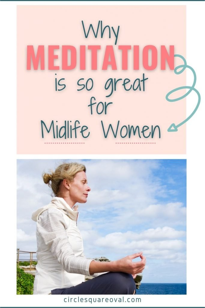 meditating woman at midlife in white jacket and ponytail