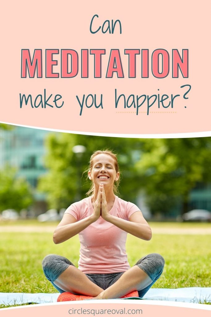 Smiling woman in seated meditation, can meditation make you happier