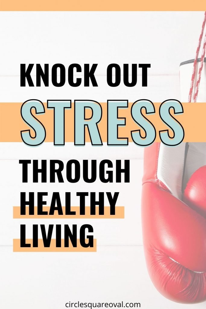 red boxing gloves hanging up, knock out stress through healthy living