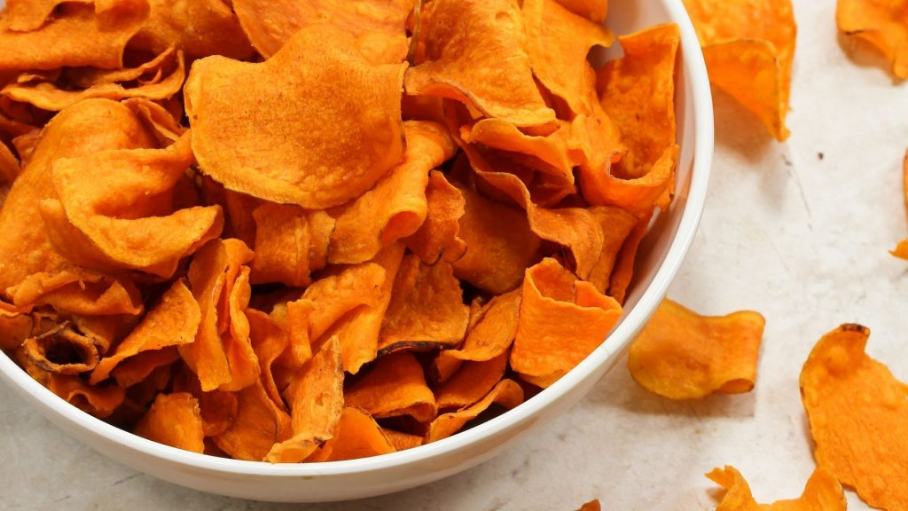 sweet potato dog treats in a bowl