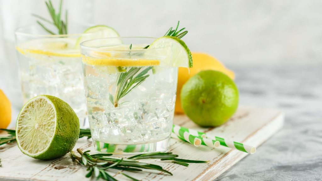gin and tonics with limes and rosemary, pop-up party