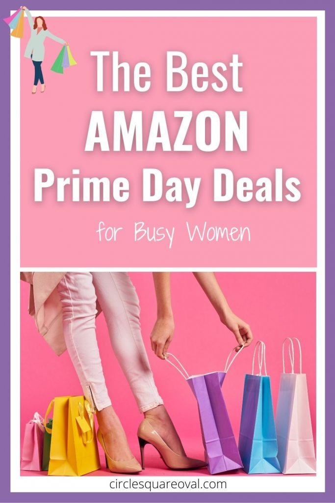 woman's legs in high heels, surrounded by colorful Amazon Prime Day shopping bags