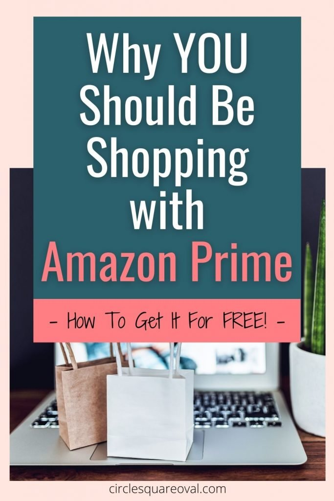 computer, green plant, and tiny shopping bags Amazon Prime membership
