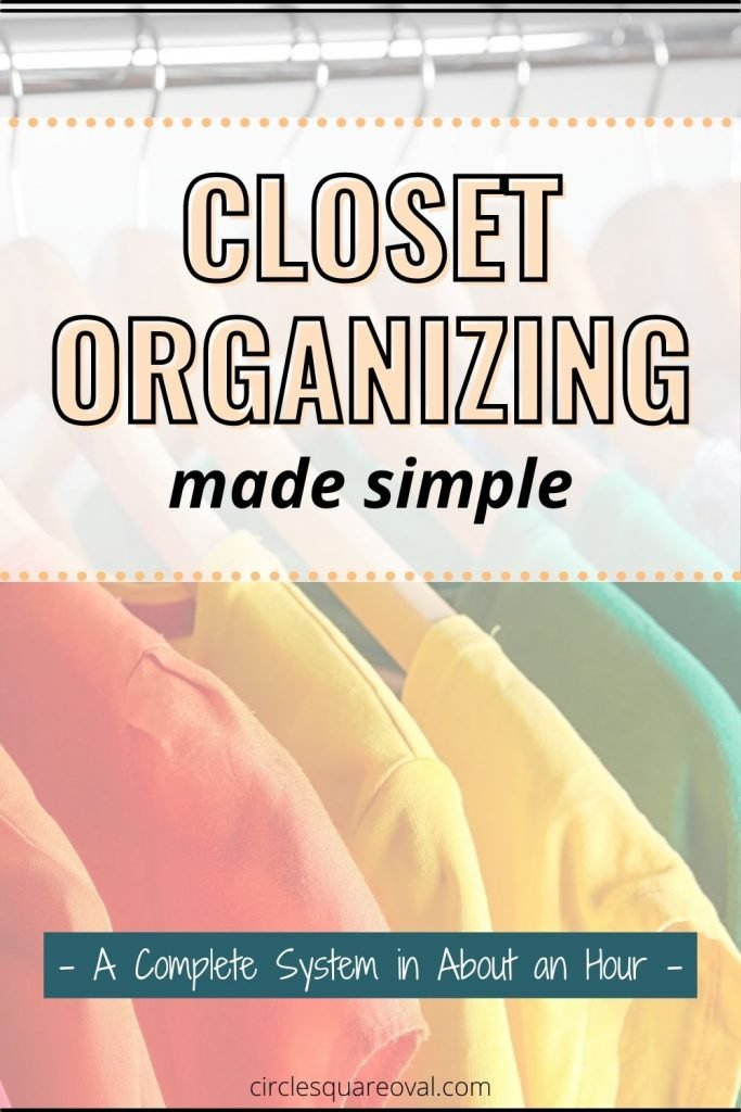 colorful tops hanging in closet color coordinated
