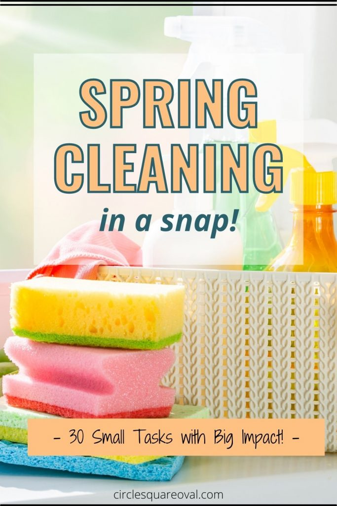 sponges and other cleaning supplies in bright spring colors
