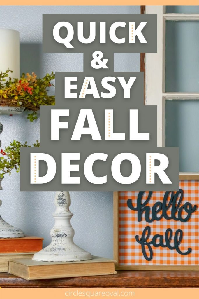 """mantel decorated for fall with candles and """"hello fall"""" sign in orange check"""