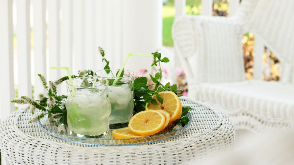 lemonade on porch after spring cleaning
