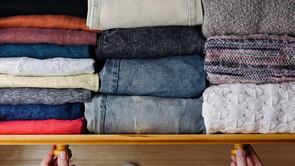 clothing file folded in dresser drawer