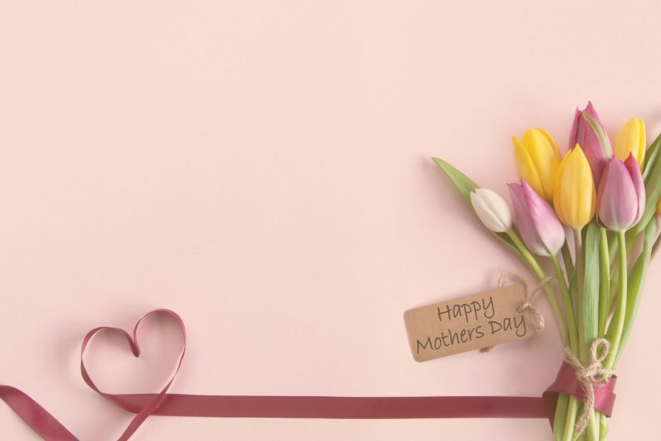 mothers day ribbon and tulips