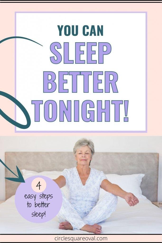 Older woman sitting on bed in meditation, preparing for sleep