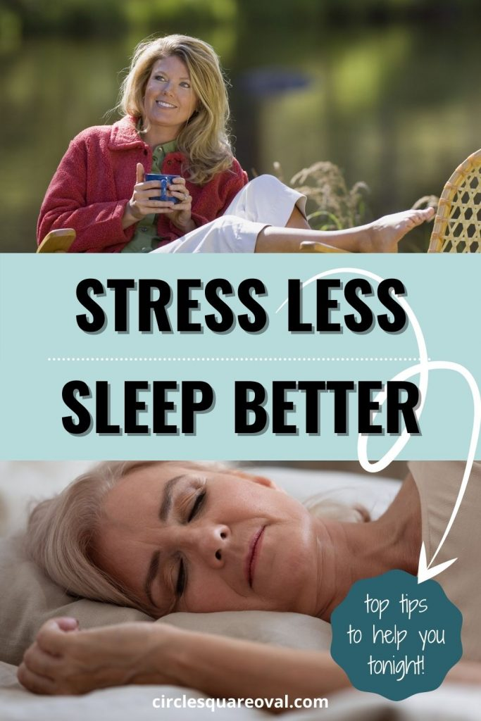 picture of woman relaxing with cup of tea outside, and picture of woman sleeping in bed.  Stress Less and Sleep Well