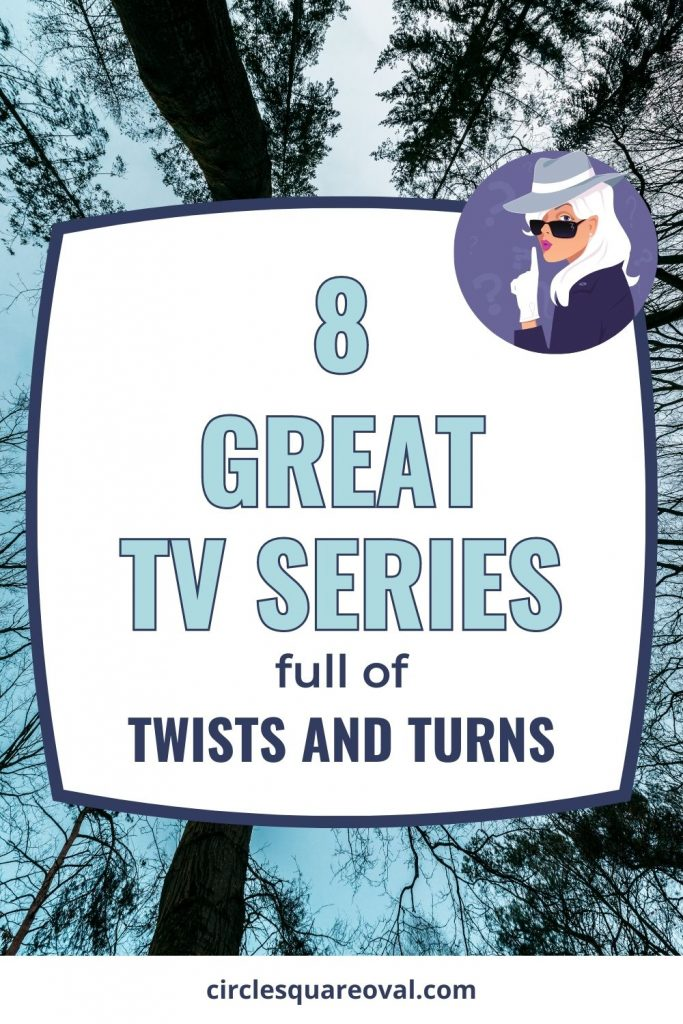 dark haunted-looking forest with black trees and blue sky, with a cartoon detective with finger to her lips, 8 great edge-of-your-seat tv shows on amazon prime