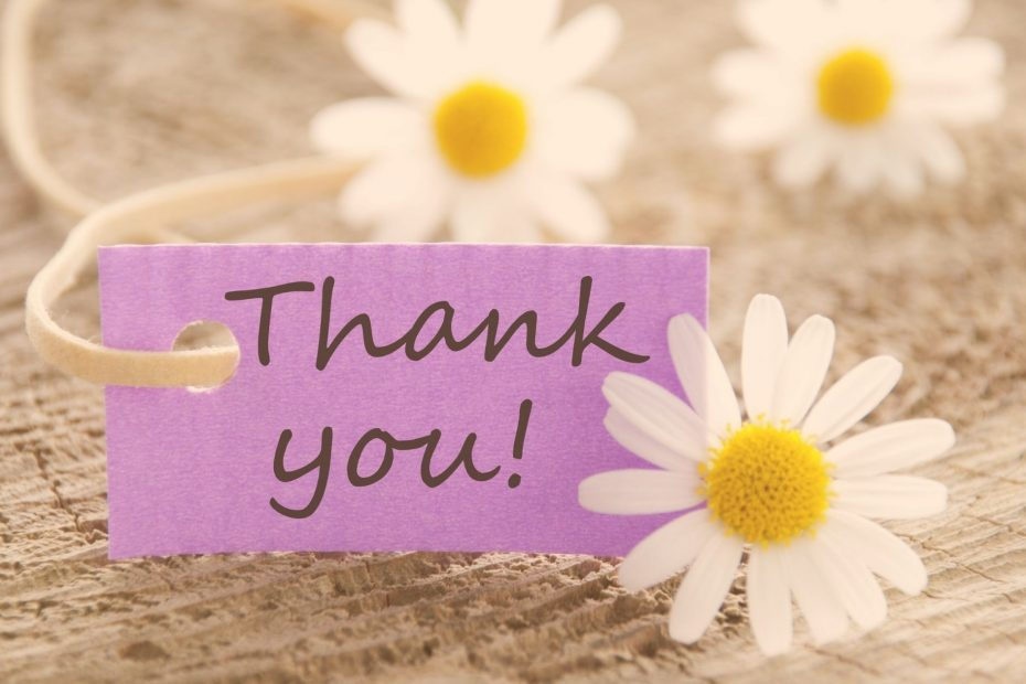"""daisies and a purple card that reads """"thank you"""""""