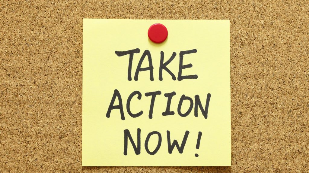 """post it note reading """"take action now"""" as a reminder to stress less and sleep well"""