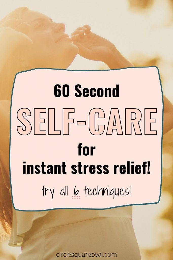 woman lifting arms and gazing upward in sunshine, 60 second self-care for stress relief