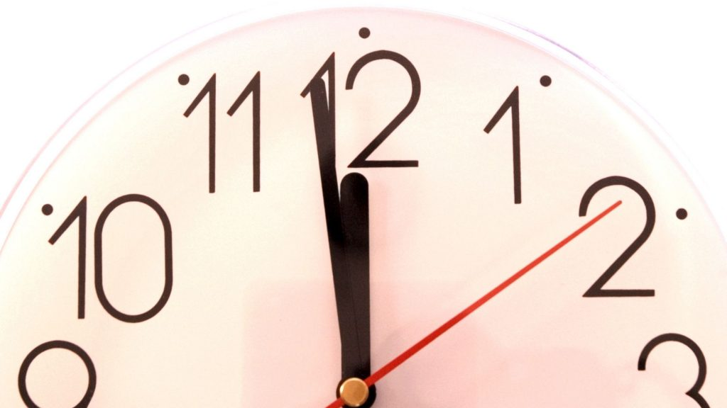 clock showing almost noon, 60 Second Self-Care to Reduce Stress Fast
