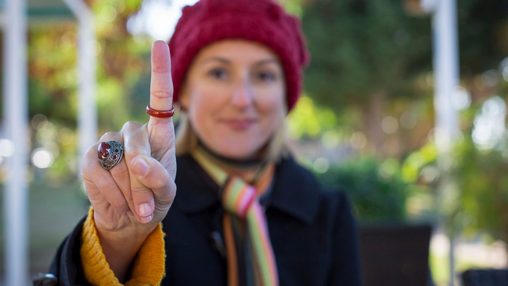 60 Second Self-Care to Reduce Stress Fast, woman holding up one finger