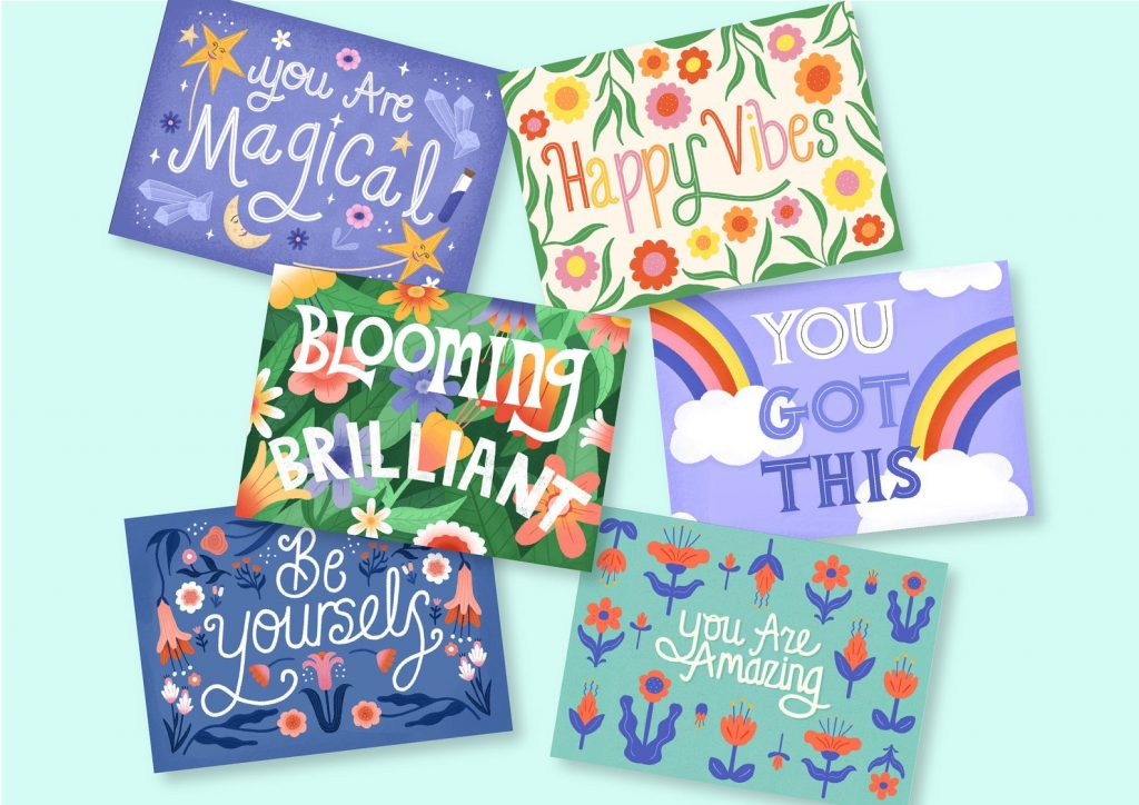 6 colorful positivity postcards