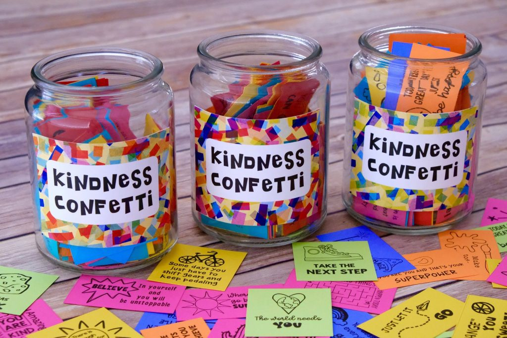 The Best Online Shops With Products to Make You Happy, with Kindness Confetti in three jars
